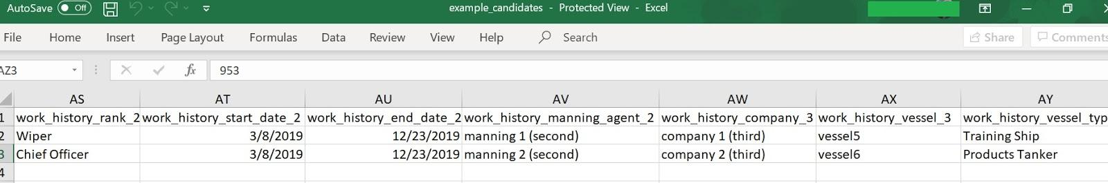 screenshot of the sample Excel spreadsheet