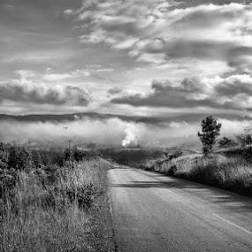 Road to Mozambique by Graeme Carlisle - Landscapes Prairies, Meadows & Fields ( clouds, road, landscape )