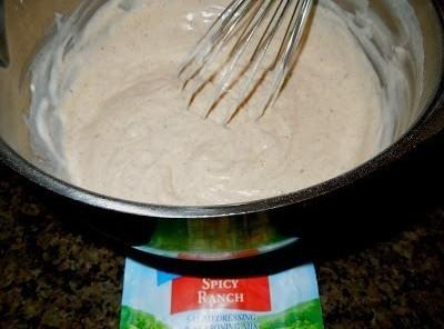 Prepare the dressing using 1 1/3 cup of milk/buttermilk and 1 cup of mayo. Chill...