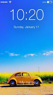 Retro Car Beetle Custom Yellow Bug Lock Screen - náhled