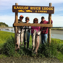 Photo: A limit of Kasilof River King salmon and a bonus Silver salmon landed in July 2011.