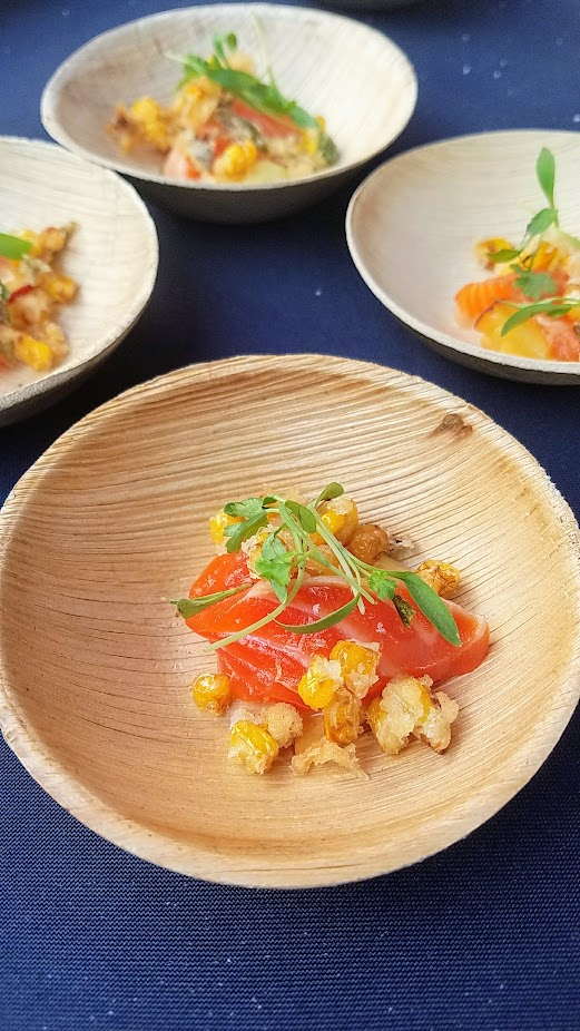 Review of Feast PDX Smoked 2017, Tyson Cole of Uchi/Uchiko, Austin TX with Smoked Masu, Yuzu Kosho Aioli, Karaage Corn, Grilled and Pickled Negi