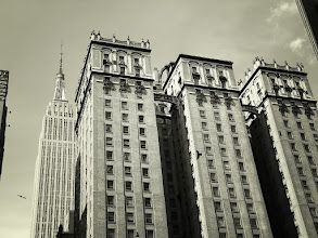 """Photo: """"Flight""""   4 Park Avenue and the Empire State Building. Midtown, New York City.  View the writing that accompanies this post here at this link on Google Plus:  https://plus.google.com/108527329601014444443/posts/WYPwghjRfFd  View more New York City photography by Vivienne Gucwa here:  http://nythroughthelens.com/"""