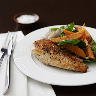 Chicken with Roasted Sweet Potato Salad.