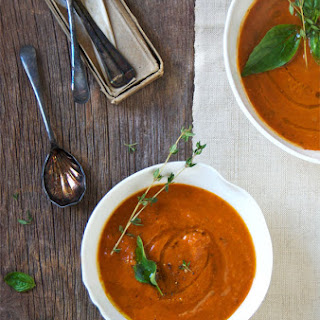 A Classic Roasted Tomato Basil Soup with Fontina and Blueberry Ginger Jam Grilled Cheese Sandwiches