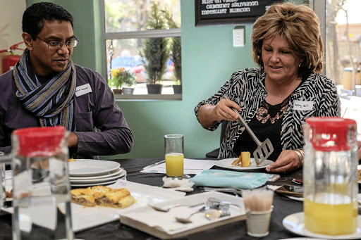 Readers Selvin Gopaul and Kathy Bell were on the Sunday Times Food Awards pie-tasting panel.