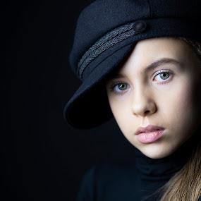 Docker girl by Christoph Reiter - People Portraits of Women ( black background, blonde hair, girl, blue eyes )