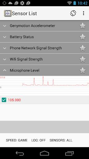 Sensor List screenshot 2