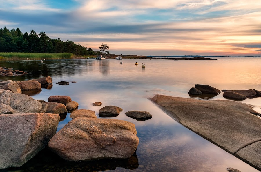 Calm by Bent Velling - Landscapes Waterscapes ( clouds, water, sony, fredrikstad, benro, boats, 17-55, kood, rocks, nex-7, norway, nd8 )