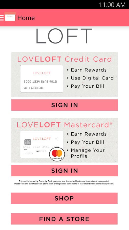 LOFT Card- screenshot