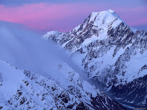 Photo: Misty clouds stream in from the west side of the divide, as Aoraki / Mt. Cook overlooks.  This mountain is the tallest in New Zealand, at a height of 3754m, or 12,316 ft.