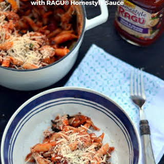Sausage and Spring Vegetable Pasta with RAGÚ® Homestyle Sauce.