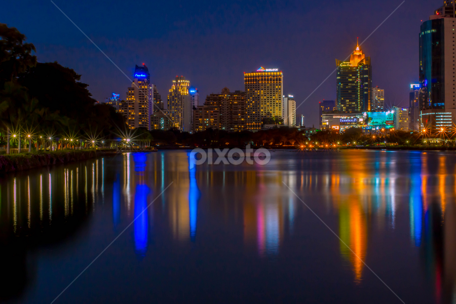 Bangkok By Night. by John Greene - City,  Street & Park  Night ( water, bangkok, park, night, john greene, colours )