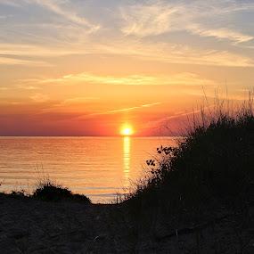 First Street Sunset by Jennifer Smusz - Landscapes Sunsets & Sunrises ( #lakemichigan, #water, #puremichigan, #sunset, #dunes, #beach, #lake, #bliss, #beauty, #peaceful )