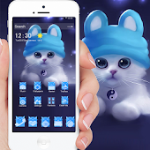 Persian cat theme white Blue cat theme Cartoon cat