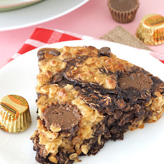 Peanut Butter Cup Swirl Baked Oatmeal