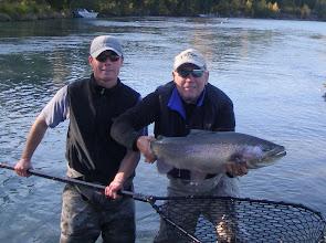 Photo: Nigel Fox of Alaska Drift Away Fishing and John Elmer with a trophy Kenai rainbow trout.
