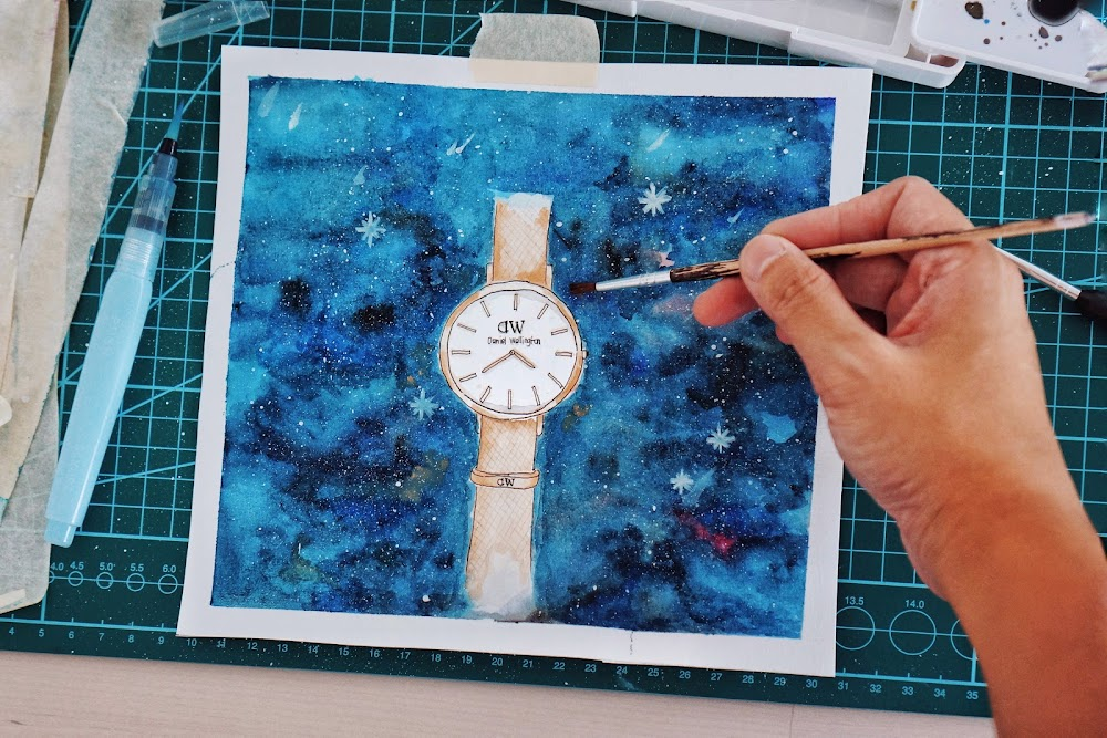belajar watercolor daniel wellington