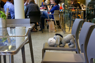 Photo: Somebody lost their Eeyore at St Pancras station :(