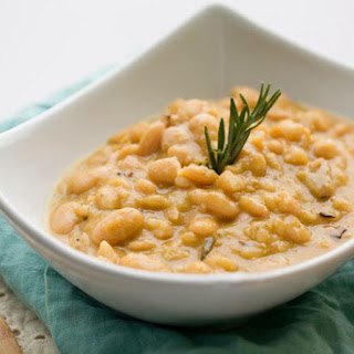Tuscan-Style White Beans with Rosemary and Mushrooms.