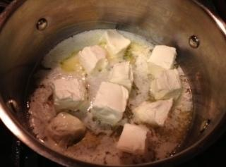Once butter is almost melted, add the cream cheese. (It will melt faster if...