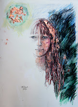 "Photo: Mirrorless Self-Portrait Series, sketch 1ca, 28.5cm x 42cm, 11 1/4"" x 16 1/2"", graphite, watercolour pencils, Cretacolor aquastics, copper leaf in a Moleskine A3 Sketchbook."
