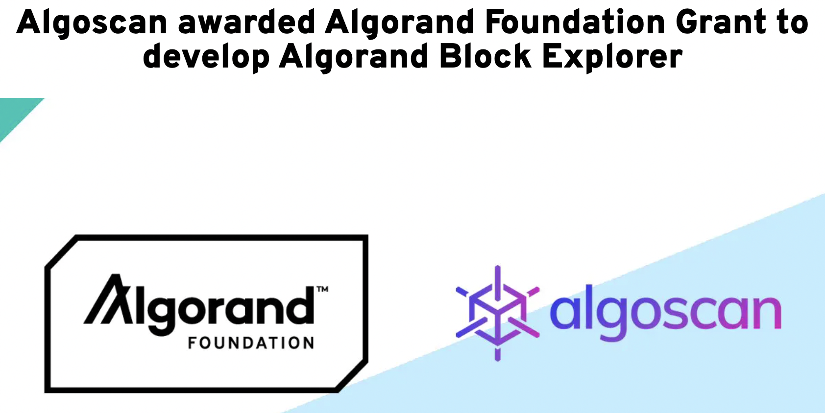 Sample grant given by the Algorand Foundation to Algoscan