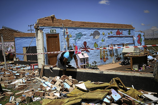All that's left of a creche in Putfontein, on the East Rand, after the storm on Monday. No children or workers were hurt.