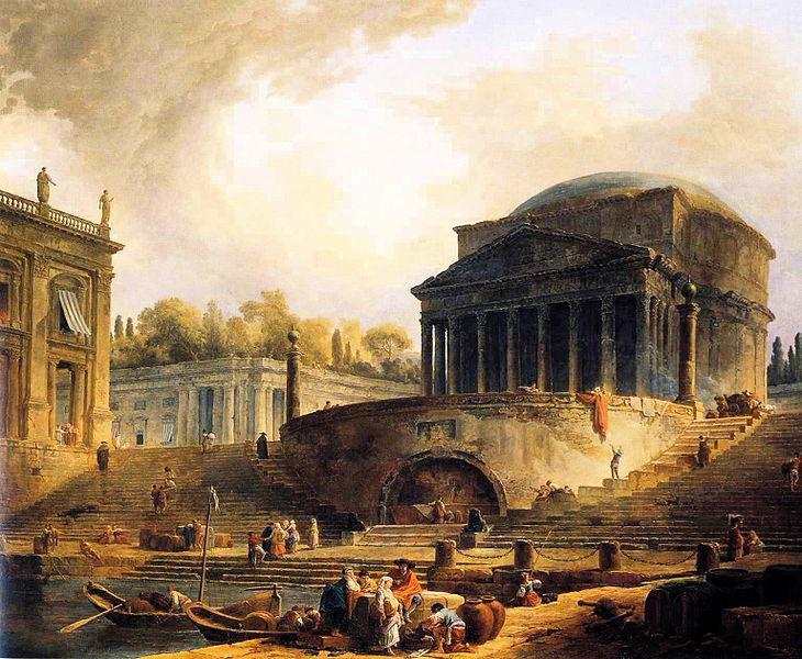 Hubert Robert, Vue du port de Ripetta à Rome