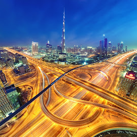 by O J - City,  Street & Park  Skylines ( sheik zayed road, dubai mall, dubai, uae, burj khalifa )
