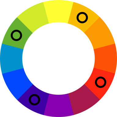 Color wheel with black spots on green, orange, violet, and red