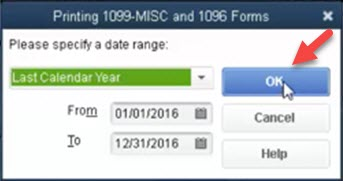 print 1099 MISC, and the 1096 forms in QuickBooks