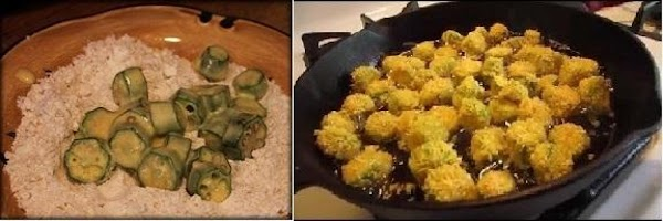 Breading and frying your okra.