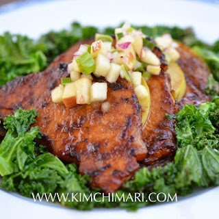 Apple Pork Bulgogi with Kale and Apple Salsa.