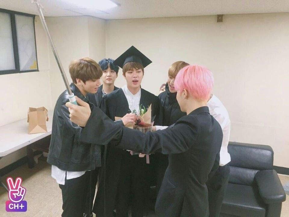 bts jin graduates
