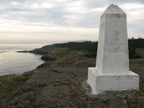Photo: Day 2: The US-Canadian boarder marker at Iceburg Point state park.