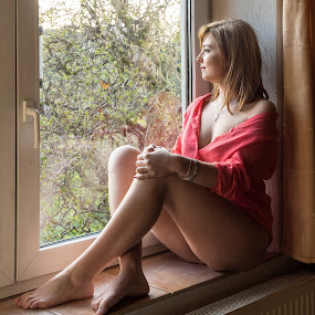 How will be the weather? by Klaus Müller - People Portraits of Women ( red, woman, portrait,  )