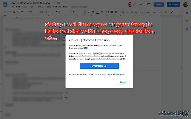 Save Google Docs & Sheets to other clouds
