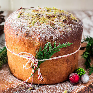 Cranberry, Pistachio and White Chocolate Panettone.