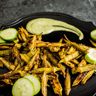 Spicy Roasted Okra | Cool Cucumber Dill Dip