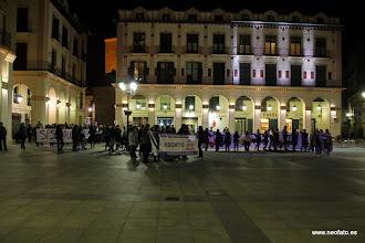Photo: Huesca: 8M 2014 Reflejos violetas en la Plaza del Mercado (o Luis López Allué)