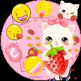 Strawberry Kitty Cartoon Keyboard Theme
