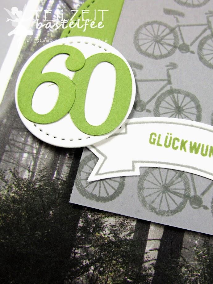 Stampin' Up! - Bike, Fahrrad, 60, Geburtstag, Männerkarte, male card, birthday, thoughful banners, Bannerweise Grüße