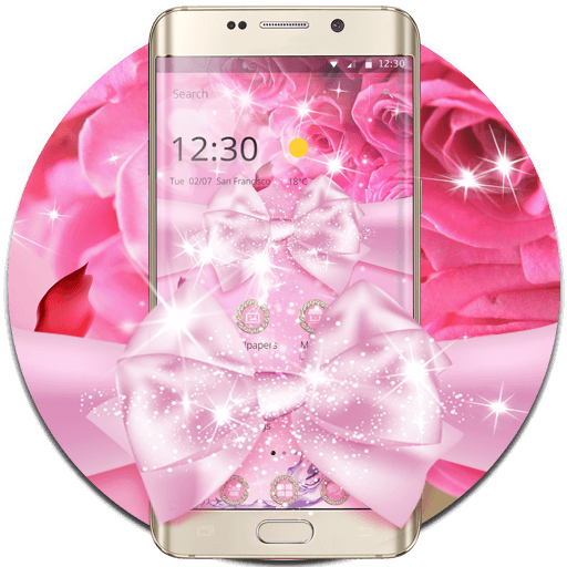 Pink Rose Shining Flower Theme