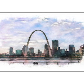 artistic arch by Jody Jedlicka - Digital Art Places ( st louis, arch, american, midwest, gateway to the wet )