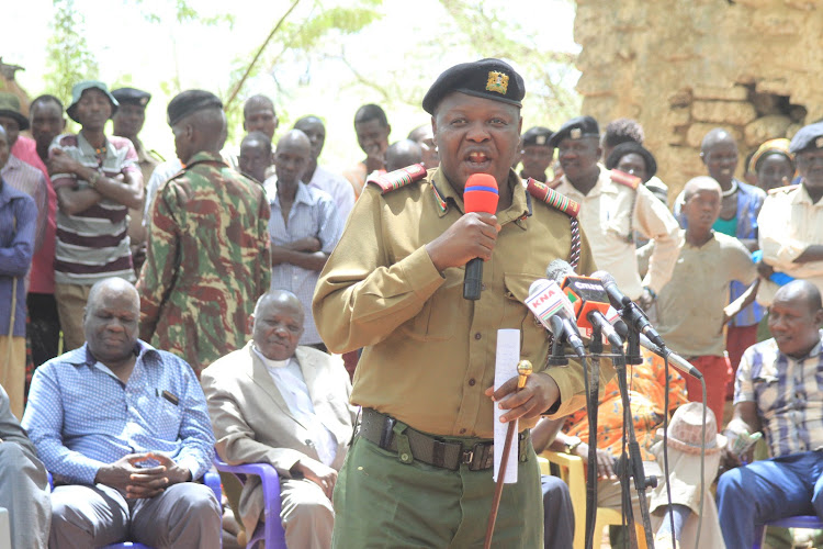 Rift Valley Regional Coordinator Mwongo Chimwaga addressing the public during food donation at Nginyang in Tiaty, Baringo County on Tuesday.