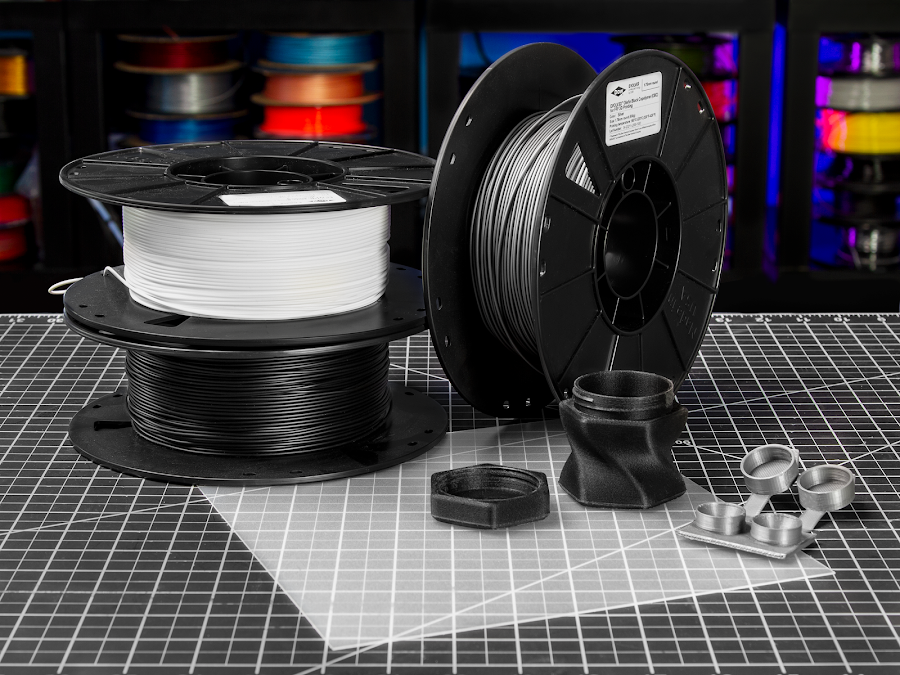 Polypropylene, polypropylene blends, and OBC filament are fantastic materials to produce prototypes that are durable and functional.