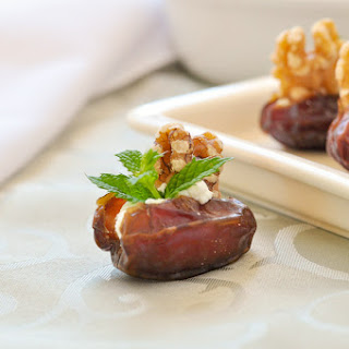 Dates Stuffed with Goat Cheese, Walnuts and Mint.