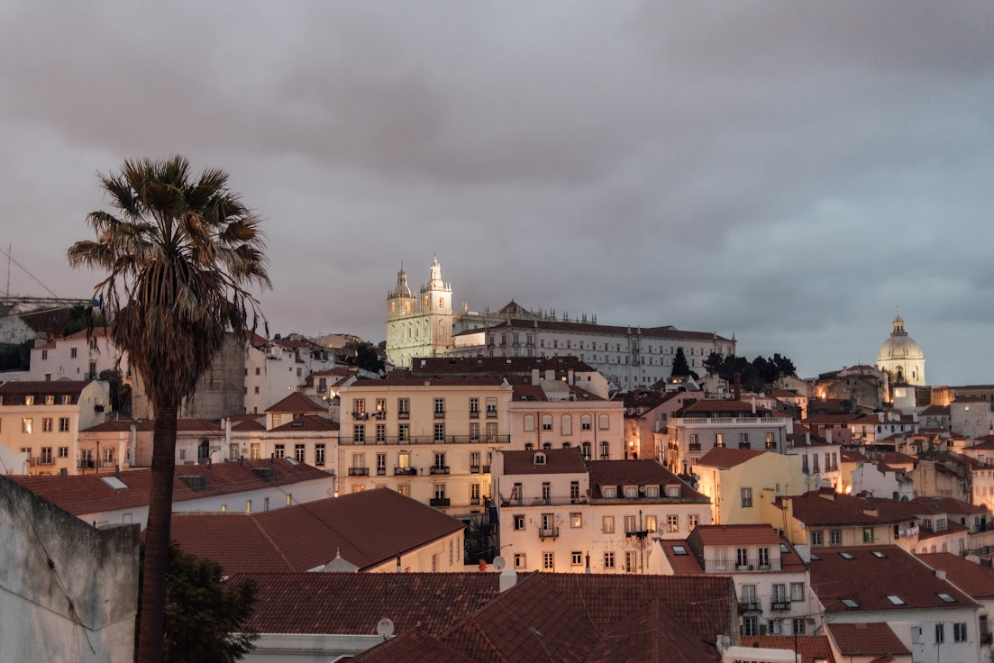 Lisszabon, Alfama, kilátás, viewpoint, napnyugta, Portugália