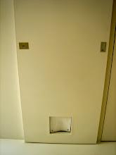 Photo: 浴室に通じる扉には、ネコ窓が付いてます。